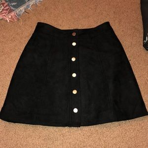 Black faux suede skirt with buttons